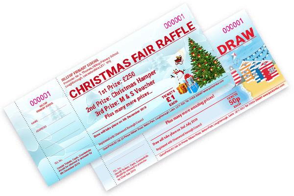 Seasonal Christmas summer raffle tickets