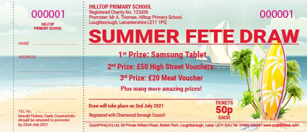 Summer raffle ticket design